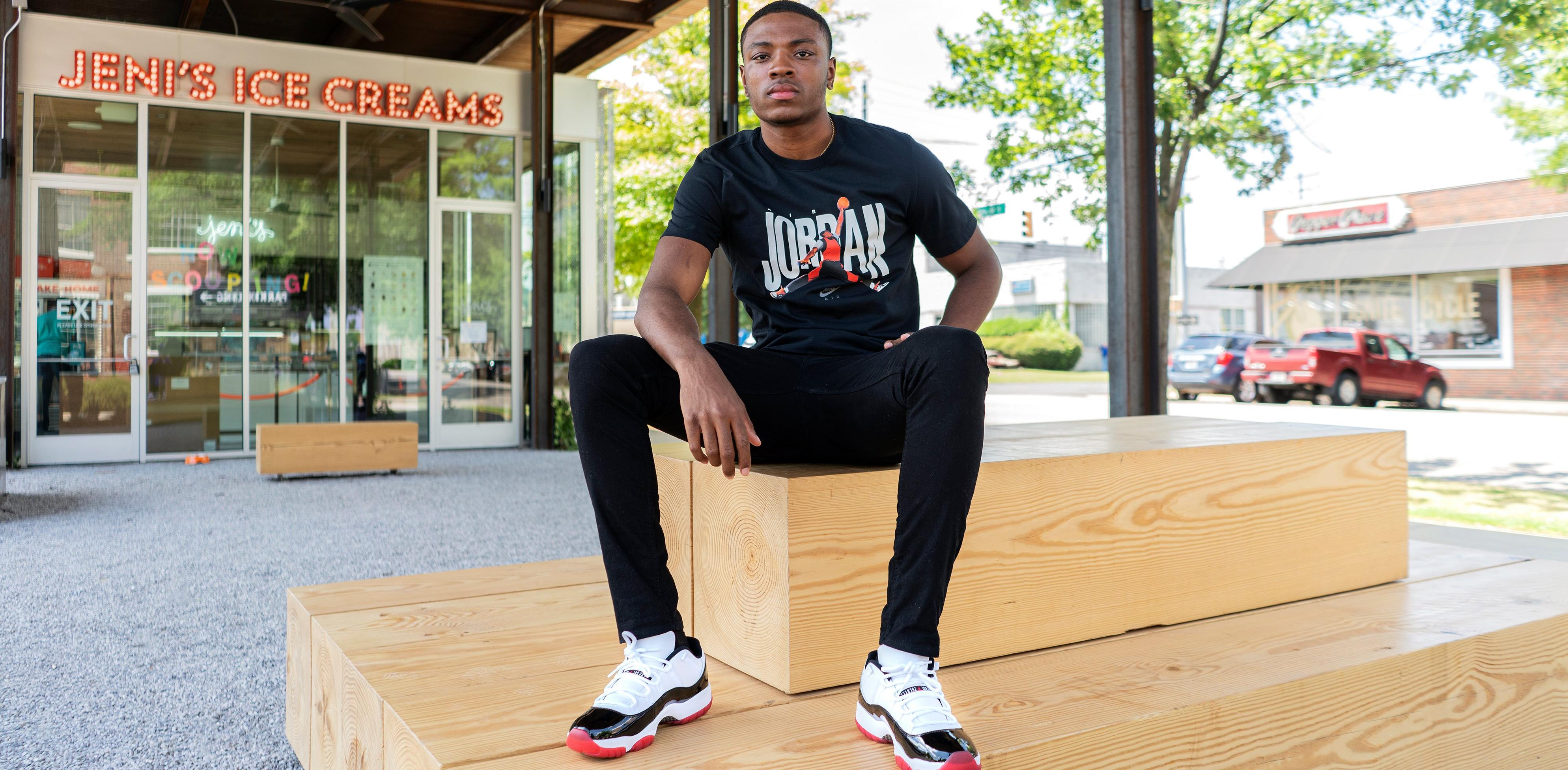 "Jordan 11 Retro Low ""White Bred"" White/University Red/Black Men's and Kids' Shoe"