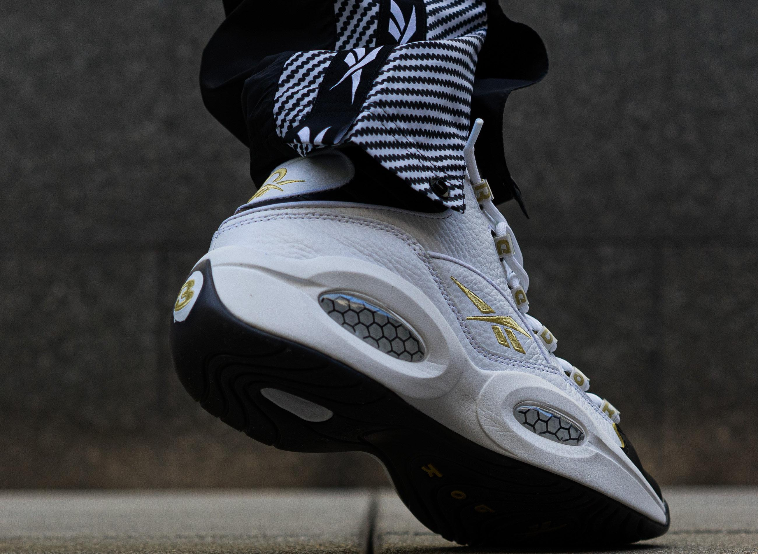 "Reebok Question Mid ""Respect My Shine"" White/Black/Gold Men's and Kid's Shoe"