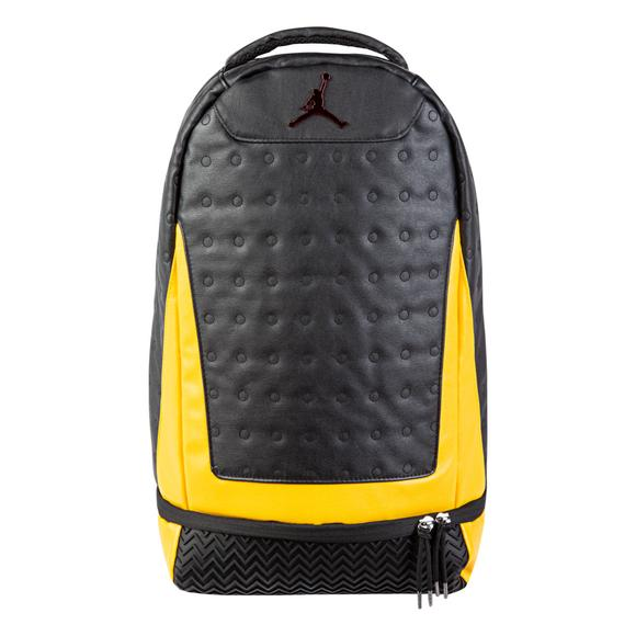 5db8af0dcab858 Jordan Retro 13 Backpack - Black Gold - Main Container Image 1