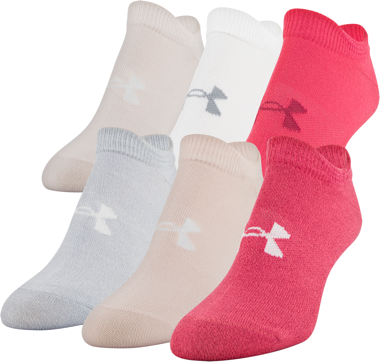 Under Armour Womens Essential No-Show Socks Pink White Sports Running Gym