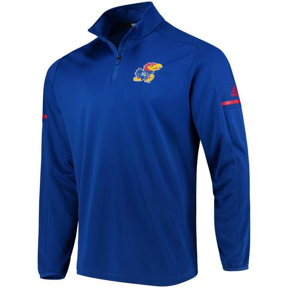 cheap for discount 6d48e cd2c1 adidas Men s Kansas Jayhawks Sideline 1 4 Zip climalite Pullover - Main  Container Image 1