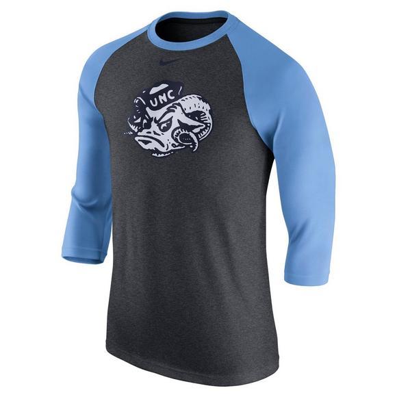 53ddd0d14609 Nike Men's North Carolina Tar Heels Raglan Vault 3/4 Sleeve T-Shirt -  Hibbett US