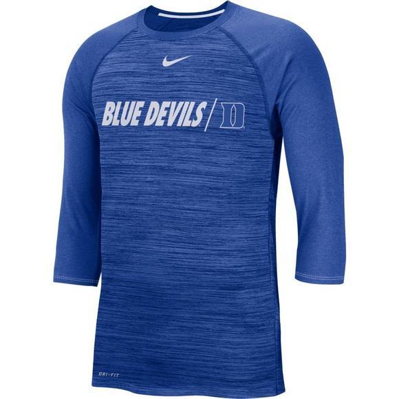 newest d4ab3 2745e Nike Men s Duke Blue Devils Dri-FIT Raglan 3 4 Sleeve T-Shirt