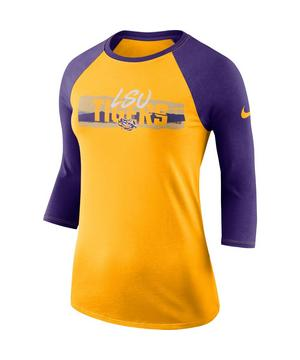 new styles 76665 f3f8b Nike Women's LSU Tigers 90s Raglan 3/4 Sleeve T-Shirt