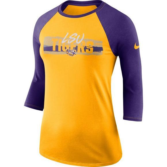 new styles 92ac7 d9d4c Nike Women's LSU Tigers 90s Raglan 3/4 Sleeve T-Shirt