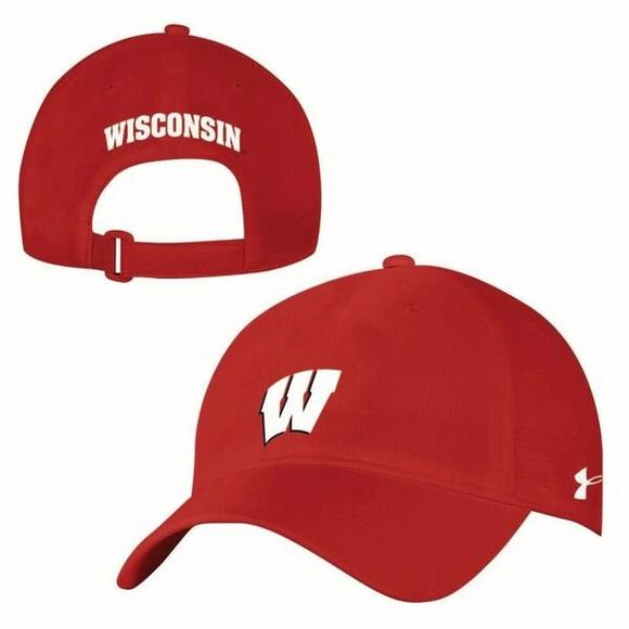 buy online 57230 611eb Under Armour Wisconsin Badgers Airvent Alloy Adjustable Hat - Main  Container Image 2