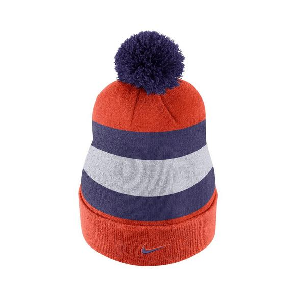 d55d269a Nike Clemson Tigers Sideline Beanie POM Knit Hat - Main Container Image 3