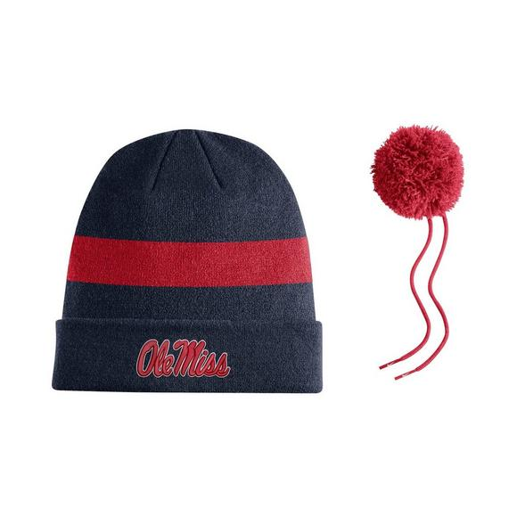 new styles b8e1b fb8f5 Nike Ole Miss Rebels Sideline Beanie POM Knit Hat - Main Container Image 2