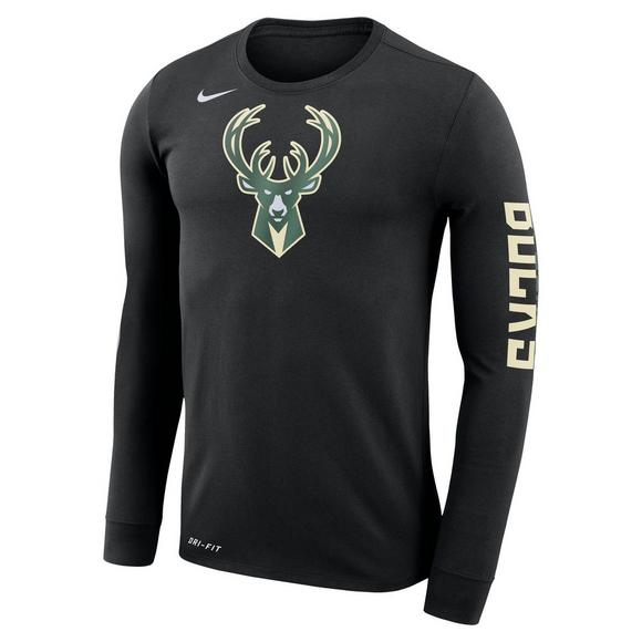 outlet store 7524e d3ee1 Nike Men's Milwaukee Bucks Dry Logo Long Sleeve T-Shirt