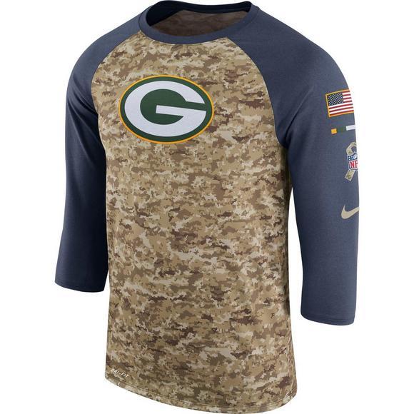 New Nike Men's Green Bay Packers Salute to Service Raglan T Shirt  for cheap