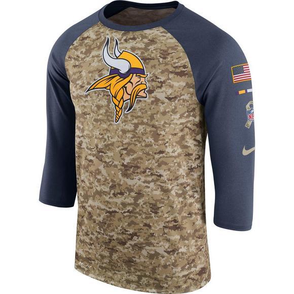 detailing a95ee 4051d Nike Men's Minnesota Vikings Salute to Service Raglan T ...