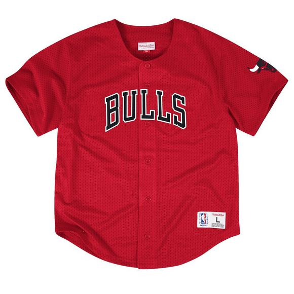 92ec0b02f48 Mitchell   Ness Chicago Bulls Mesh Button Up Jersey - Main Container Image 1