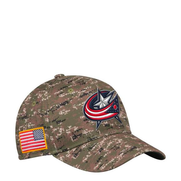 adidas Columbus Blue Jackets USA Camo Flex Hat - Main Container Image 1 fe38ae235a1