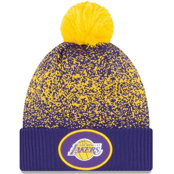 b86af22bb77 New Era Los Angeles Lakers On-Court Cuffed Pom Knit Hat - Main Container  Image