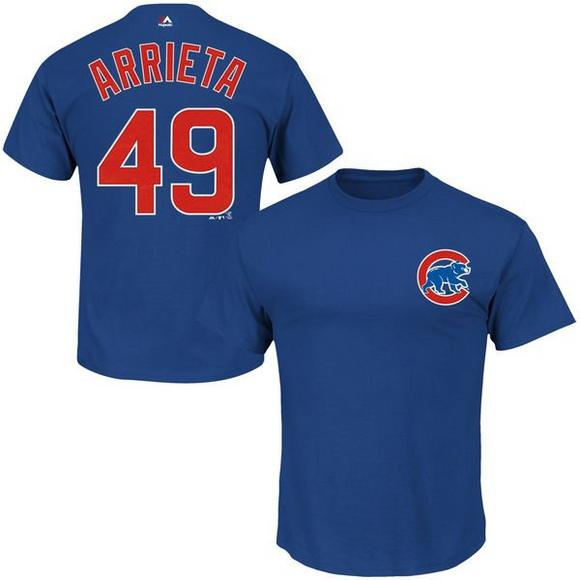 detailed look aad69 8582a Majestic Chicago Cubs Jake Arrieta Official Name and Number ...