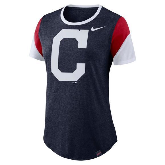 66db2408 Nike Women's Cleveland Indians Tri-Sleeve Stripes Short Sleeve T ...