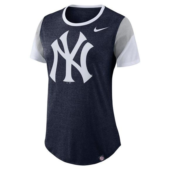 de63aa14d Nike Women's New York Yankees Tri-Sleeve Stripes Short Sleeve T-Shirt - Main