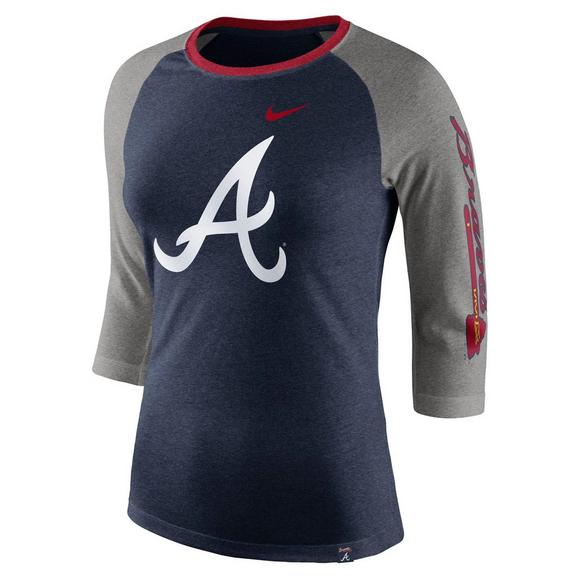 first rate adf8e 95865 Nike Women's Atlanta Braves Tri-Blend 3/4 Raglan T-Shirt ...