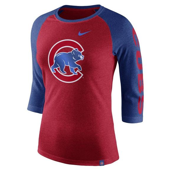 new arrival 5af1f 819aa Nike Women's Chicago Cubs Tri-Blend 3/4 Raglan T-Shirt ...