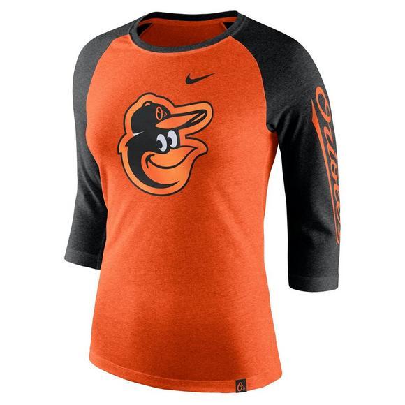 competitive price 4aa4a f5609 Nike Women's Baltimore Orioles Tri-Blend 3/4 Raglan T-Shirt ...