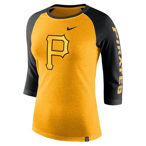 reputable site a1e19 6cfd7 Nike Women's Pittsburgh Pirates Tri-Blend 3/4 Raglan T-Shirt