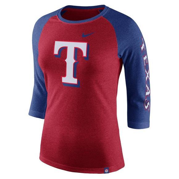 3e6b399a Nike Women's Texas Rangers Tri-Blend 3/4 Raglan T-Shirt - Hibbett US
