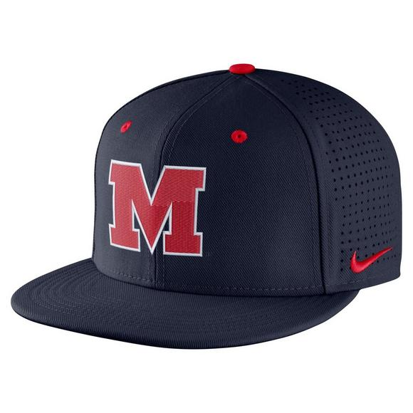 the latest be19a ea341 ... sale nike ole miss rebels aerobill fitted baseball cap main container  image 1 01d55 09311