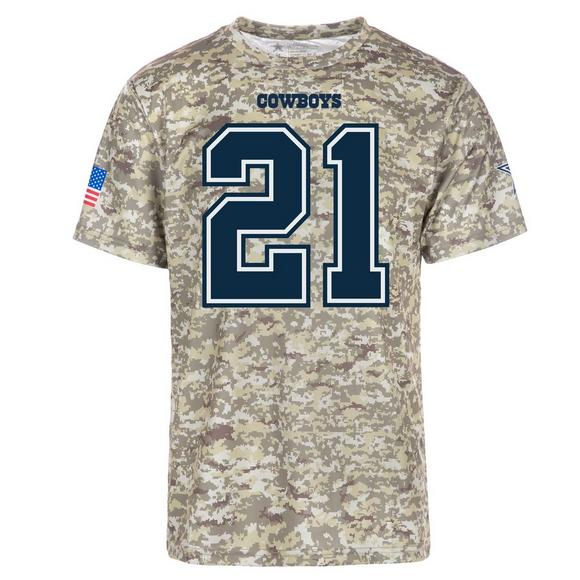 competitive price b963f b79b9 Dallas Cowboys Merch Ezekiel Elliott Camo Name & Number T ...