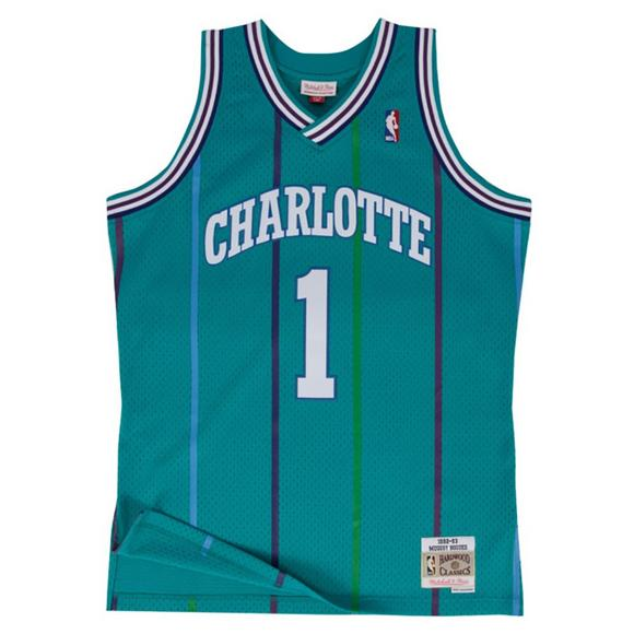 418ee44e13c Mitchell   Ness Youth Charlotte Hornets M. Bogues Swingman Jersey - Main  Container Image 1