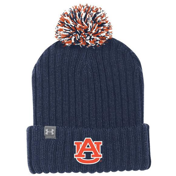 9f51404aa77 Under Armour Auburn Tigers Pom Knit Beanie - Main Container Image 1