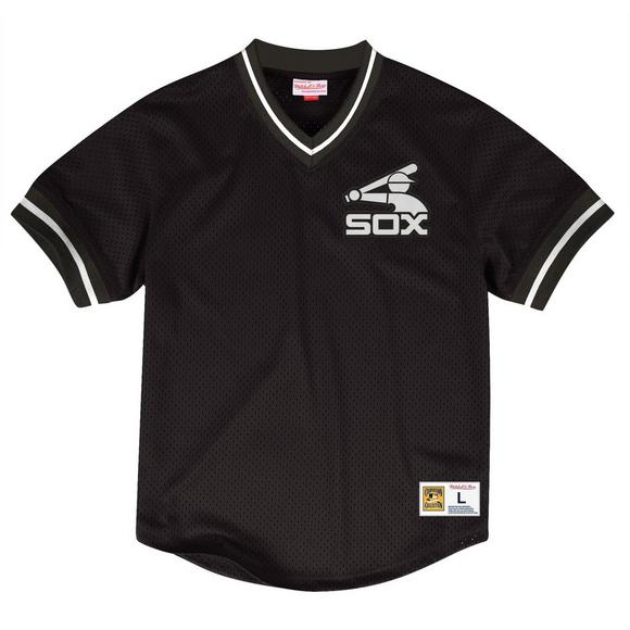 low priced cf511 19186 Mitchell & Ness Men's Chicago White Sox Mesh V-Neck Jersey