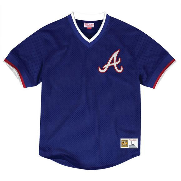 outlet store 586e3 b673c Mitchell & Ness Men's Atlanta Braves Mesh V-Neck Jersey