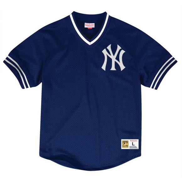 new style 08868 023fb Mitchell & Ness Men's New York Yankees Navy Mesh V-Neck Jersey