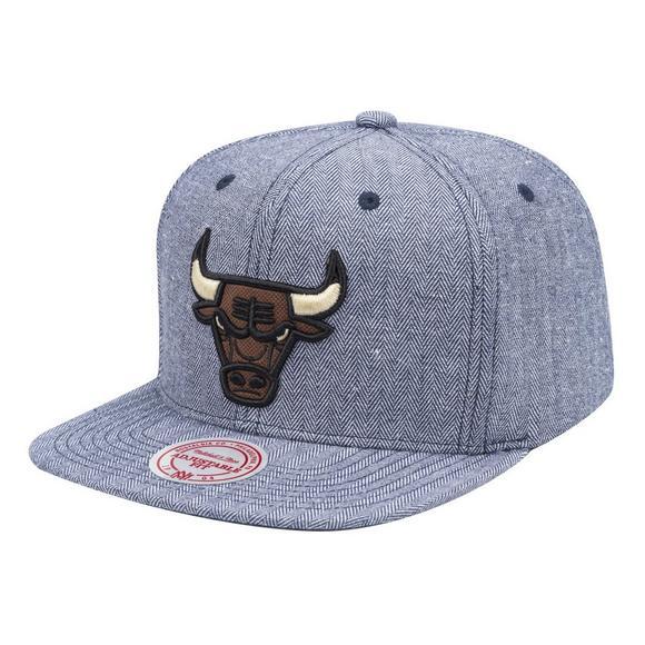 Mitchell   Ness Chicago Bulls Denim Herringbone Snapback Hat - Main  Container Image 1 9ce989c9fd5