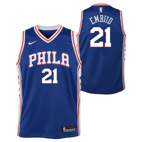 competitive price c6679 ad2fe Nike Youth Philadelphia 76ers Joel Embiid Icon Swingman ...