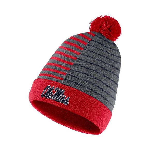 Nike Ole Miss Rebels Beanie Striped Knit Hat - Main Container Image 1 743218a21ca