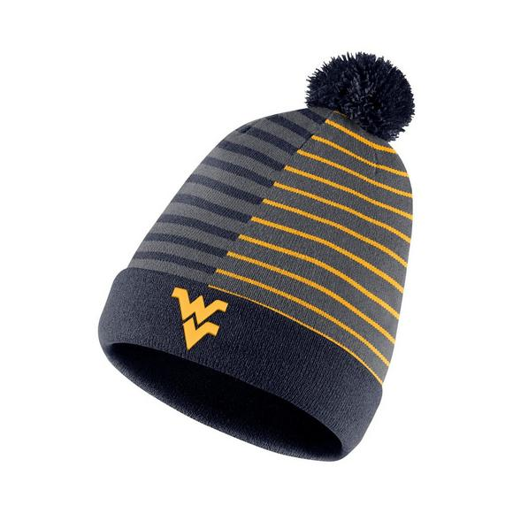 06144d175ef Nike West Virginia Mountaineers Beanie Striped Knit Hat - Main Container  Image 1