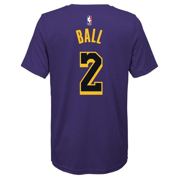 8c3c76e750b5 Nike Youth L. Ball Los Angeles Lakers City Edition Dri-Fit Name   Number