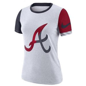 fd14b3b1b366c1 Nike Women s Atlanta Braves Dri-Fit Cotton Slub Crewneck Tee