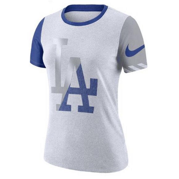 ea8874dc Nike Women's Los Angeles Dodgers Dri-Fit Cotton Slub Crewneck Tee