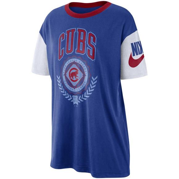 finest selection 9b62e a9d42 Nike Women's Chicago Cubs Boycut Short Sleeve Tee - Hibbett ...