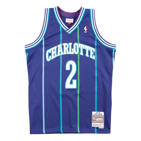 e8cc5fbb629 Mitchell   Ness Men s Larry Johnson Charlotte Hornets Hardwood Classics  Swingman Jersey - Main Container Image