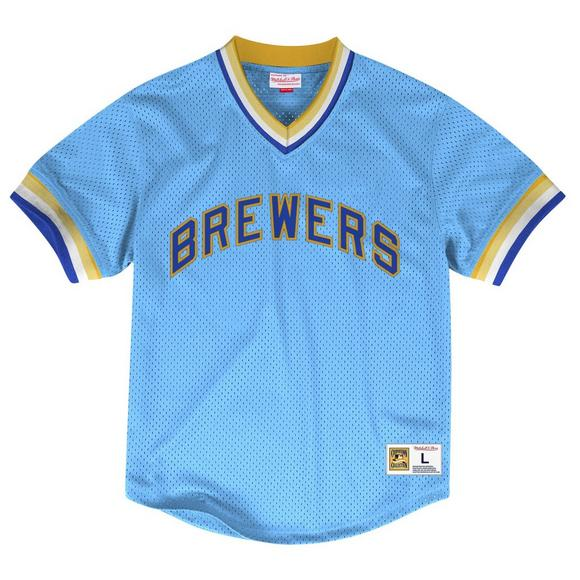 the best attitude 8ce60 ffe16 Mitchell & Ness Men's Milwaukee Brewers Mesh V-neck Jersey
