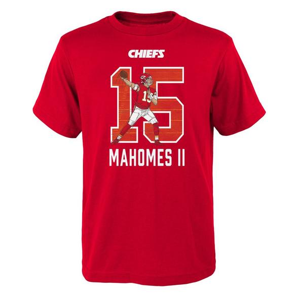 1038b0619 Gen 2 Youth Patrick Mahomes II Kansas City Chiefs Lazer Name and Number T- Shirt