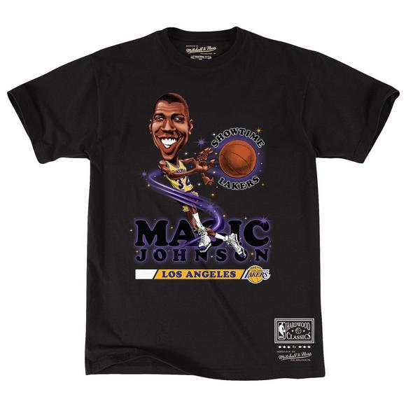 super popular f4a66 68f4d Mitchell & Ness Men's Magic Johnson Los Angeles Lakers Salem Classic  Caricature Short Sleeve Top