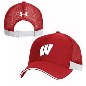 b562e034 Under Armour Wisconsin Badgers Blitzing Accent Adjustable Hat