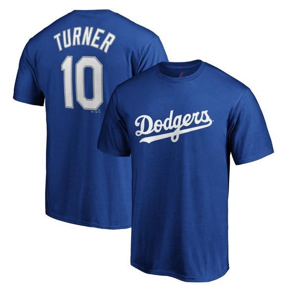 brand new d1784 90faf Majestic Men's Los Angeles Dodgers Justin Turner Name & Number T-Shirt