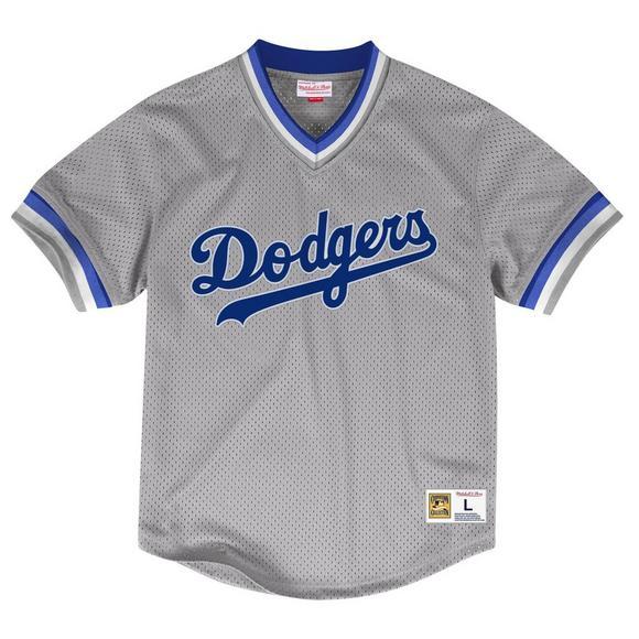official photos de2da d32db Mitchell & Ness Los Angeles Dodgers Grey Mesh V-Neck Jersey