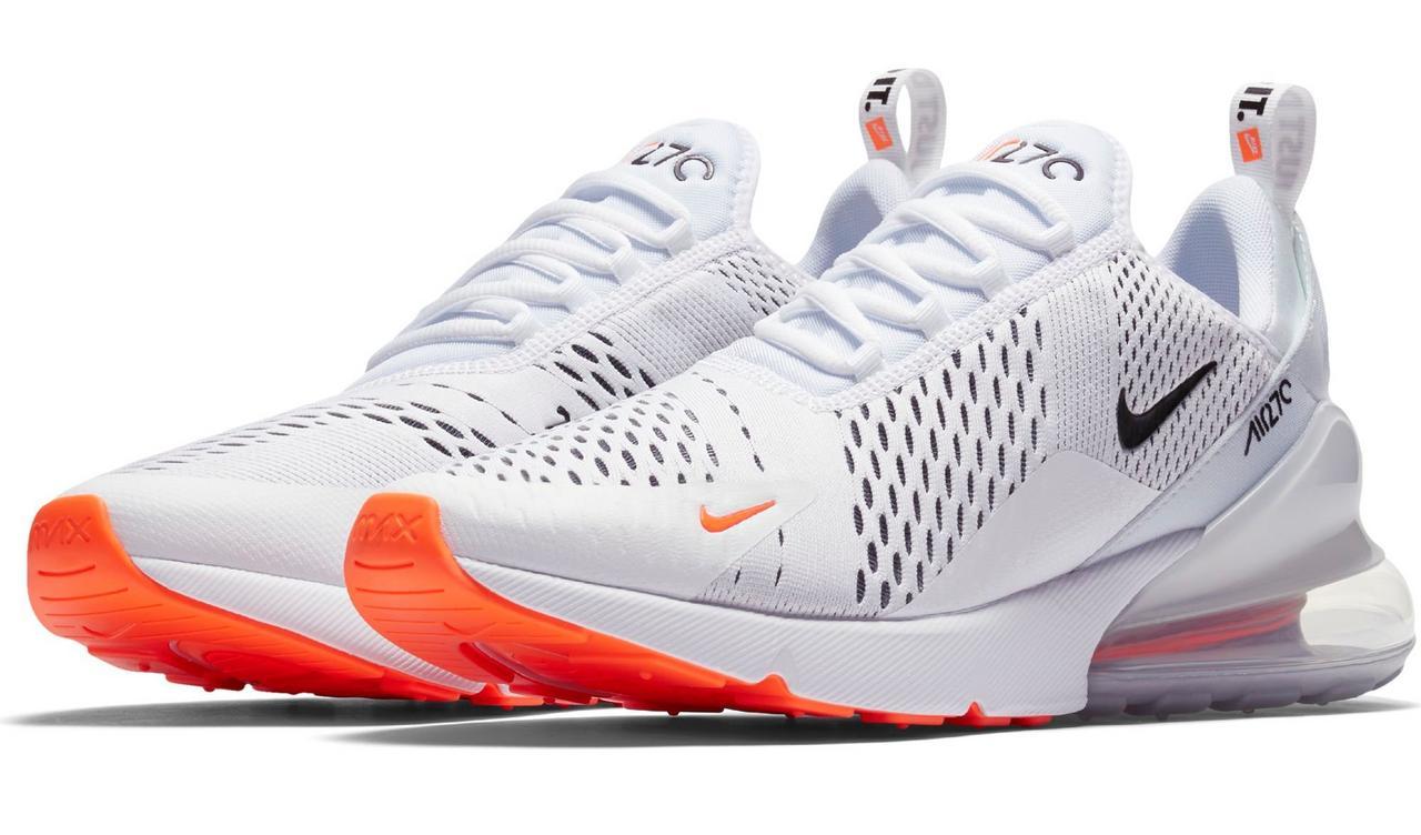 NIKE AIR MAX 270 Mens Just Do It Black White Orange Shoe