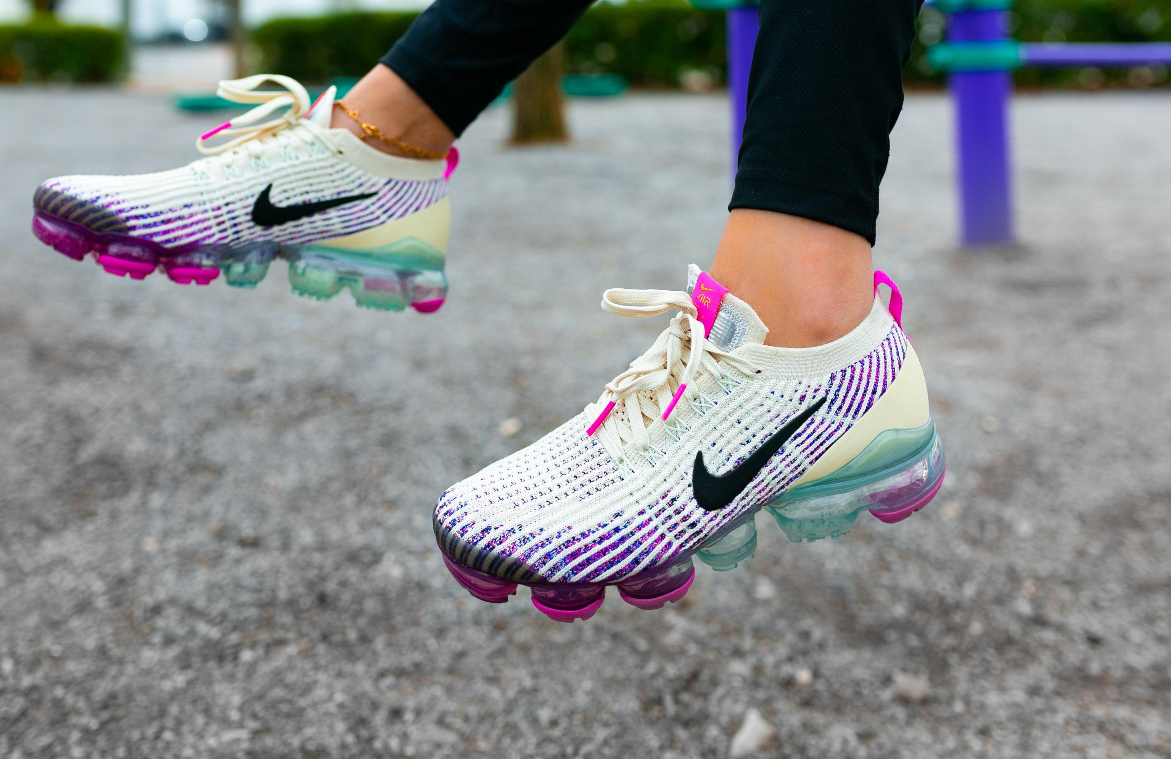 """Nike Air VaporMax Flyknit 3 """"Fossil/Black"""" Women's Shoe side by side."""